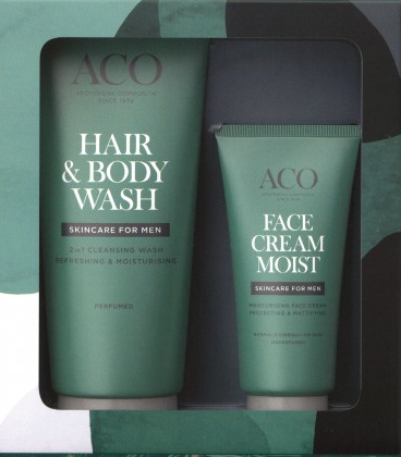 ACO FOR MEN LAHJAPAKKAUS hair body wash ja Face cream moist